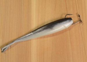 "Size 1 Zero Twist (TM) Shot hook from Stringease Tackle Mfg. Co. Ltd with Berkley Gulp 4"" Minnow (Black Shad)."